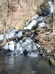 The first, and smaller, in a series of waterfalls at High Falls Conservation Area in Philmont.
