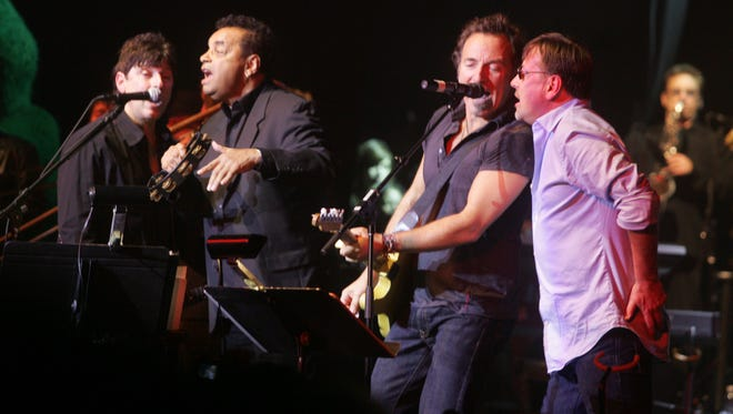 Bobby Bandiera (from left), Gary U.S. Bonds, Bruce Springsteen and Southside Johnny perform at the Hope Concert at the Count Basie Theatre in Red Bank in 2008.