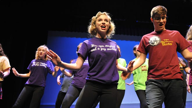 """Four students from each school perform """"There's No Business Like Show Business"""" at the annual 2017 Encore Musical Showcase at Central York High School"""