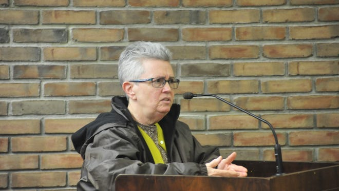Nancy Heiby, of Bucyrus, explains her frustrations Tuesday to Bucyrus City Council.