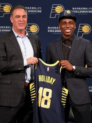 Indiana Pacers first-round pick Aaron Holiday is introduced