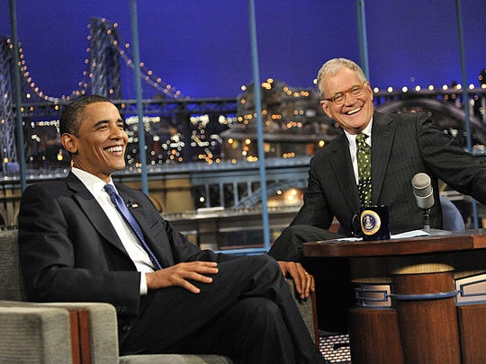 """""""President of the United States Barack Obama talks to Dave when he visits the \""""Late Show with David Letterman' on Monday September 21, 2009 on the CBS Television Network. (John Paul Filo/CBS)"""""""