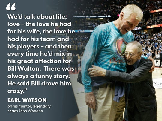 Suns coach Earl Watson had a relationship with legendary coach John Wooden that colors Watson's outlook on life to this day.
