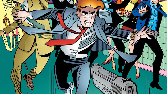"This photo provided by Archie Comics shows Archie in his final moments of life in the comic book, ""Life with Archie,"" issue 37. Archie Andrews will die taking a bullet for his gay best friend. The famous freckle-faced comic book icon will die in the July 16, 2014 installment of ""Life with Archie"" while intervening in the assassination of Kevin Keller, Archie Comics' first openly gay character. (AP Photo/Archie Comics)"