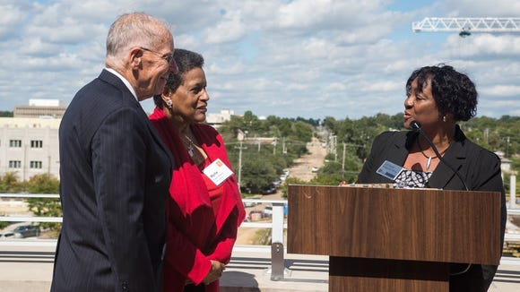 La June Montgomery Tabron, President and CEO of the W.K. Kellogg Foundation, presents former Gov. William Winter and Myrlie Evers with a $2.3 million endowment for the Mississippi Civil Rights Museum.