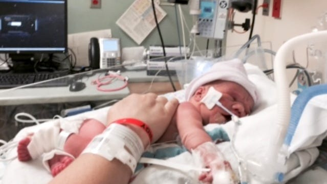 Amaris Willard in her early days in the hospital.