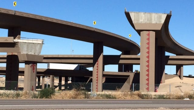 The unfinished ramps at the Interstate 10 and Loop 303 interchange in Goodyear.