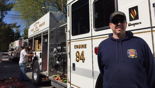 Dennis Reilly, the Briarcliff Fire Department chief, was holding open houses at Briarcliff Manor on Saturday as a means of recruiting new members.