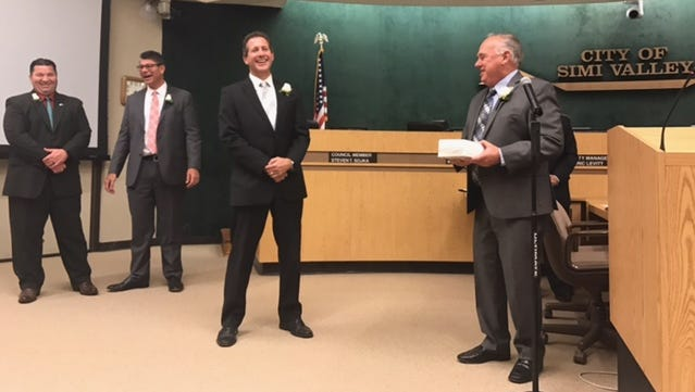 Retired Simi Valley City Councilman Steve Sojka, center, was honored Monday night by fellow council members for his 18 years on the dais.