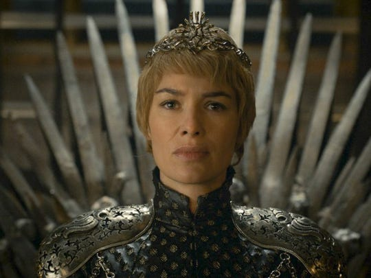 "Cersei Lannister (Lena Headey) takes on a spiky look while sitting on the Iron Throne in ""Game of Thrones."""