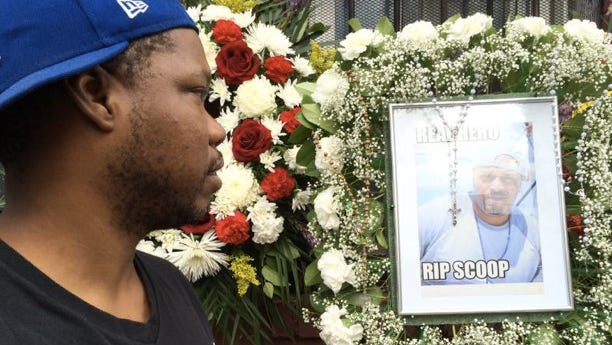 Eric Holmes helped organize a memorial on School Street for his friend, Boyce Coleman, who drowned on Sunday, Sept. 7, 2014
