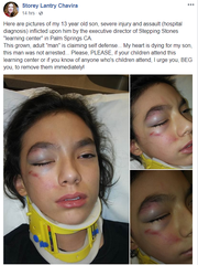 Screenshot of to Storey Lantry Chavira's personal Facebook page post that alleges that the director of Stepping Stones Learning Center in Palm Springs assaulted her son.