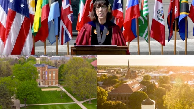 Pictured above are scenes from the conferring of degrees video produced by Knox College, honoring the Class of 2020.