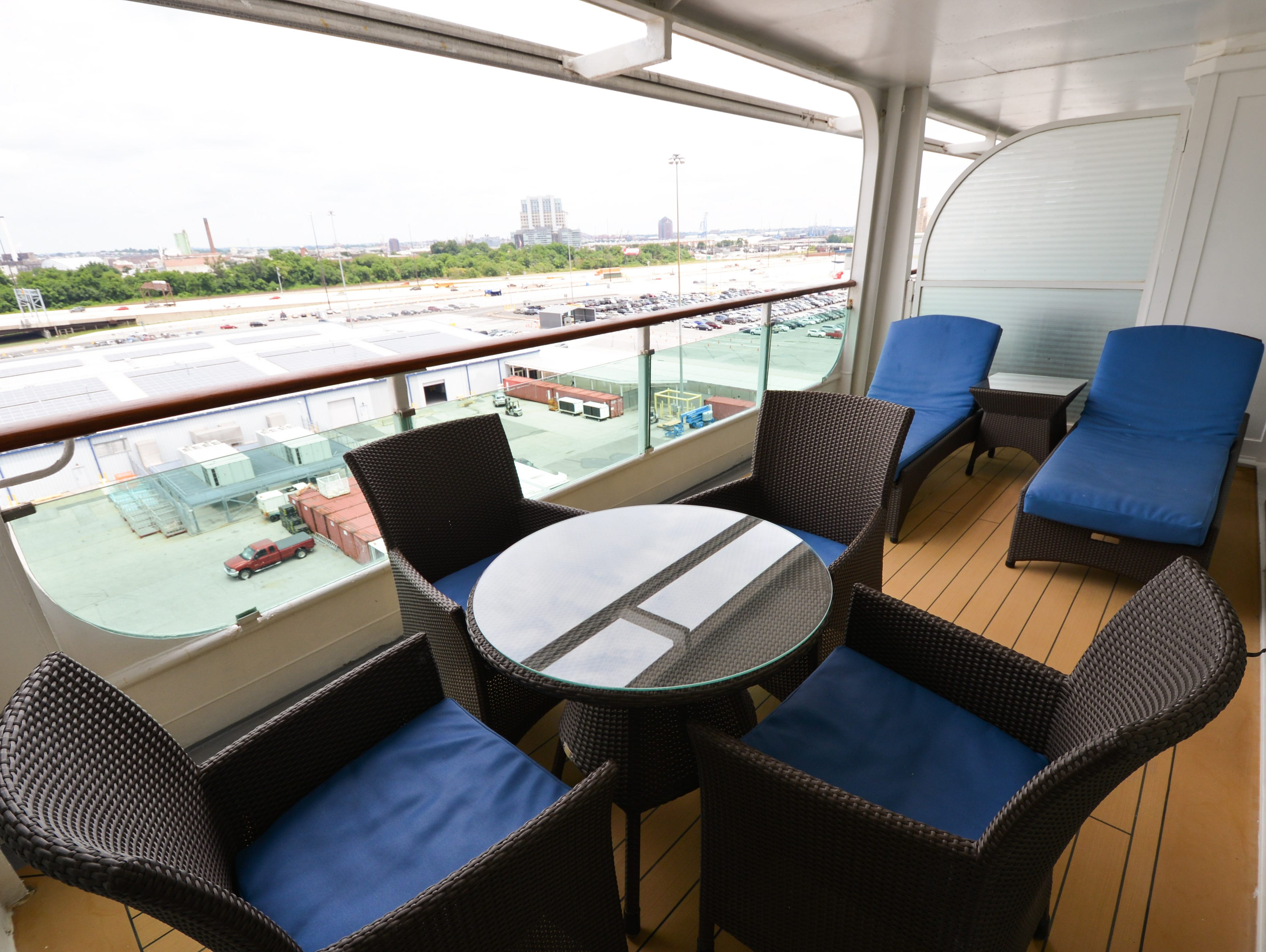 The Royal Suite's 161-square-foot balcony has room for a table and four chairs, and two plush lounge chairs.