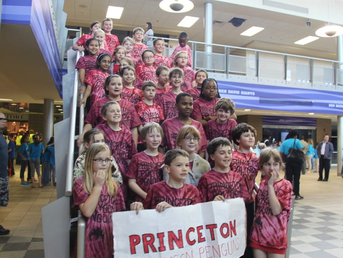 All of the Princeton City School District Princeton Polygon Penguins who competed at the Mathematics Pentathlon Tournament at Ben Davis High School in Indianapolis in the logic and computational skill games.