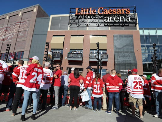 Fans arrive for the Detroit Red Wings game against