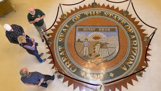 "The Arizona State Seal includes the state motto, ""Ditat Deus,"" or ""God enriches."""
