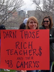 This Colorado teacher protesting salaries April 26,
