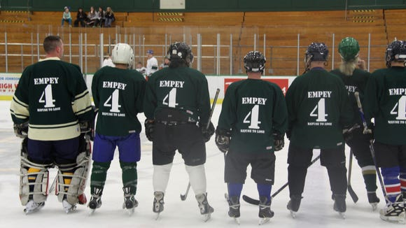 Players wore jerseys remembering Empey at a memorial skate in his honor March 14, 2015 at the College at Brockport.