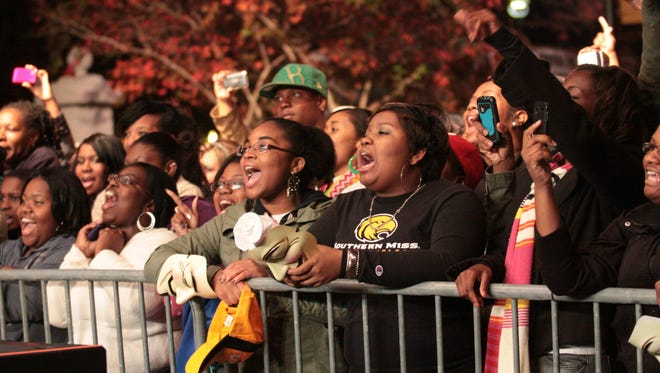 Fans scream and cheer as Melanie Fiona performs during Eaglepalooza in downtown Hattiesburg. This year's Eaglepalooza is set for Nov. 21.