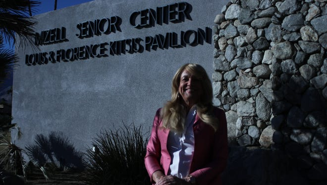 Shelley Somerville, 66, poses outside of the Mizell Senior Center in Palm Springs.