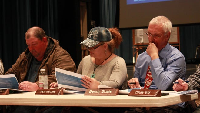 Members of the Gibson County Special School District Board examine options for either building a new school or expanding a building Thursday at Gibson County High School.