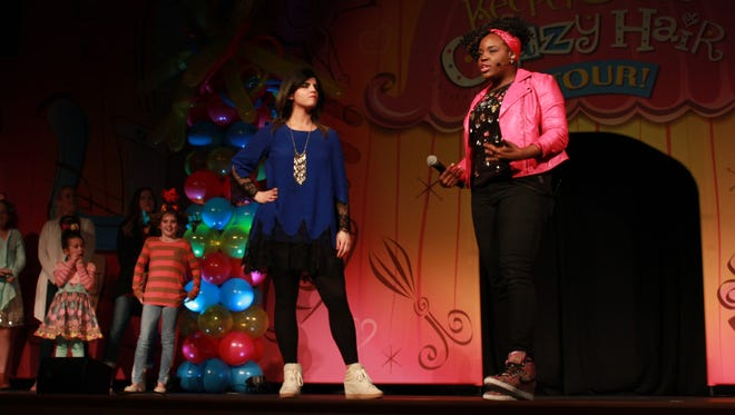 Danielle Kingsley and Charmaine Porter welcome mothers and daughters to the Secret Keeper Girl 'Crazy Hair Tour' Sunday.