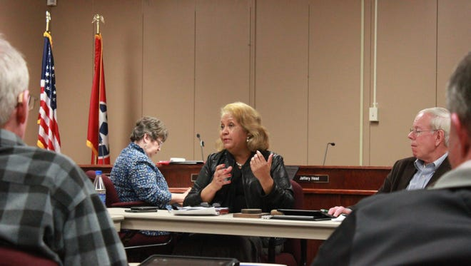 Superintendent Verna Ruffin gives an update to the Jackson-Madison County School Board at its work session Monday.
