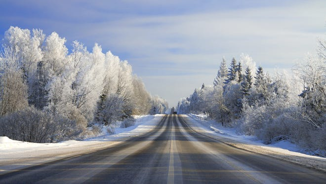 winter landscape with the road  forest