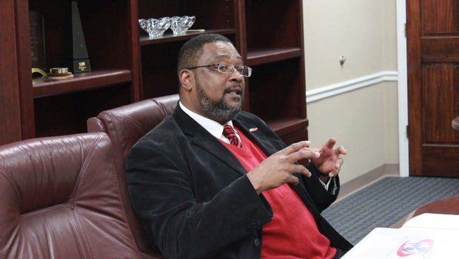 Cedric Deadmon, director of Southwest Reconnect Community, speaks with The Jackson Sun editorial board Tuesday.