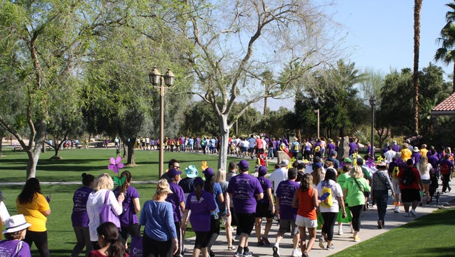 About 200 people participated in the February 2016 Walk to End Alzheimer's in Palm Desert.