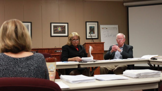 Superintendent Verna Ruffin and Jim Campbell, chairman of the Jackson-Madison County School Board, participate in a budget committee meeting Monday.