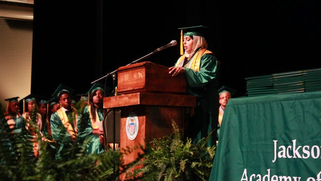 Asmihan Mohamed Annamer  gives the valedictorian address to the Jackson Central-Merry class of 2016 on Saturday at the Carl Perkins Civic Center.