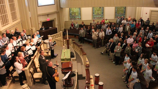 Leaders in the Tennessee River District of the United Methodist Church worship Sunday at First United Methodist Church Jackson.