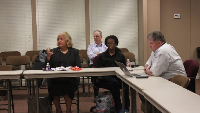 Members of the Education Vision Committee discuss the Jackson-Madison County School System Tuesday.
