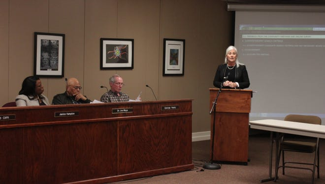 Tammy Grissom, executive director of the Tennessee School Boards Association, speaks with the Jackson-Madison County School Board during a meeting Thursday.