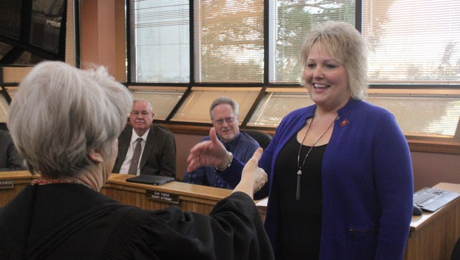 Eddy County Commissioner Susan Crockett is sworn into office, Tuesday at the Eddy County Administrative Complex.