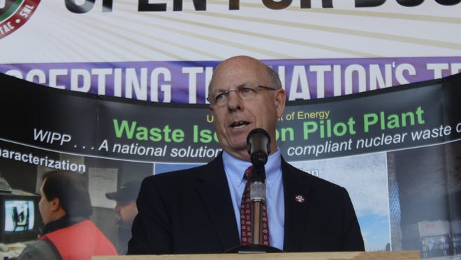 US Rep. Steve Pearce speaks to employees and politicians Monday at the reopening of the Waste Isolation Pilot Plant.