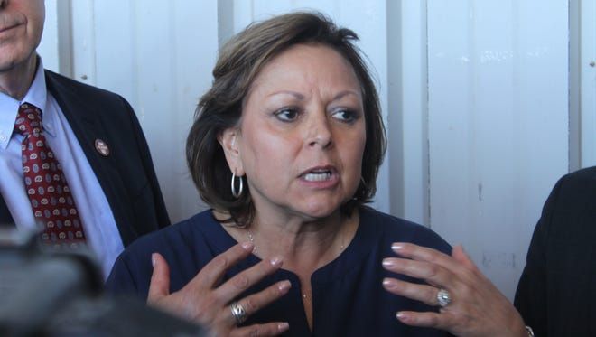 New Mexico Gov. Susana Martinez speaks to the media during a press conference at the Waste Isolation Pilot Plant.