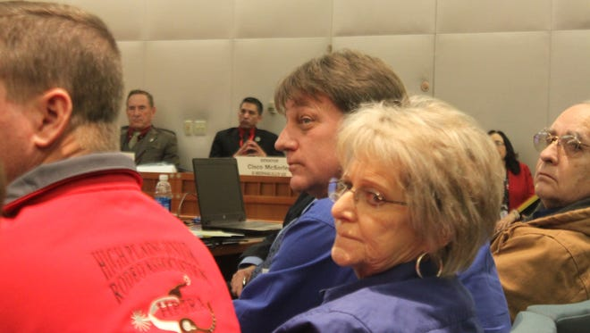 Carlsbad Chamber of Commerce member Jack Volpato and Eddy County Commissioner Stella Davis appeal to state senators about the need for funding to re-mediate the I&W Brine Well before it collapses.