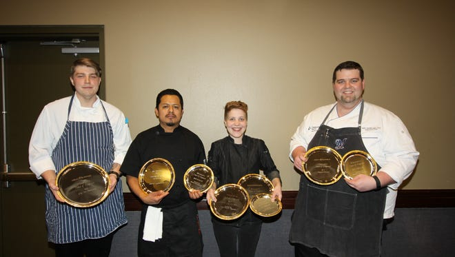 La Crosse chef Mitchel Weber of The Restaurant at Charmant Hotel was named the Chef Par Excellence at the 2017 Wisconsin's Taste of Elegance competition. Three other Wisconsin chefs also won awards during the competition. Pictured are Mitchel Weber, Nestor Sanchez, Kelsey Schoen, and Seth VanderLaan.