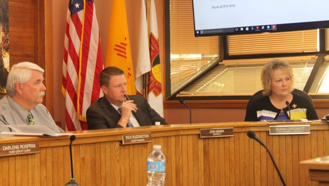 Eddy County commissioners discuss funding issues during a meeting Tuesday at the Eddy County Administration Complex.