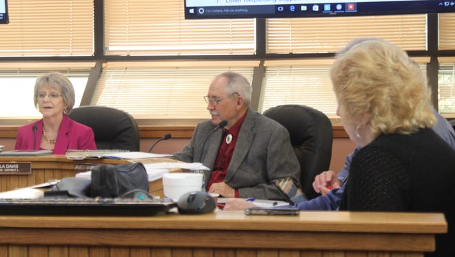 Eddy County commissioners discuss county business at Tuesday's meeting in the Eddy County Administration Complex.