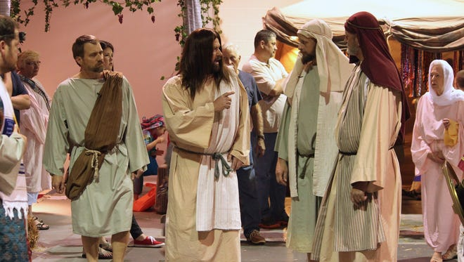 Trinity United Methodist Church drama depicts Jesus interacting with crowds in the marketplace.