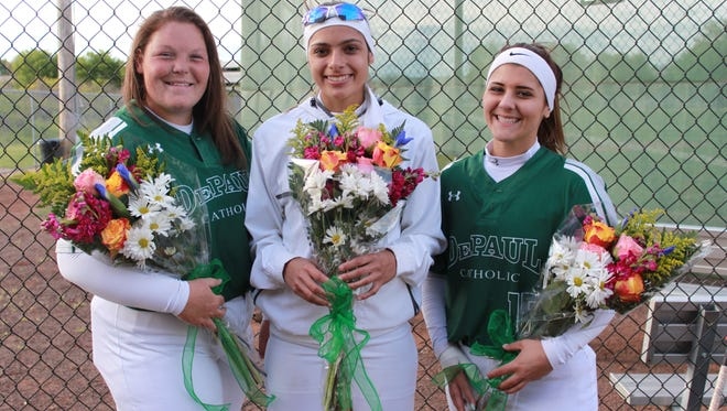 Seniors (from left) Morgan O'Neill, Amanda Ayala and Jaymie Patacco hope to lead DePaul to a state championship.