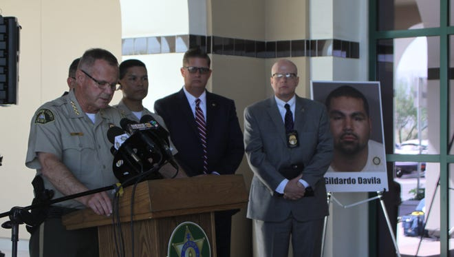 Sheriff Stan Sniff speaks at a press conference  on June 2, 2017, regarding the arrest of Gildardo Davila Jr., who is accused of shooting a Coachella sheriff's deputy.