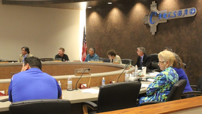 Carlsbad city councilors discuss city business during a public meeting, June 16, at the Carlsbad Municipal Annex Building.