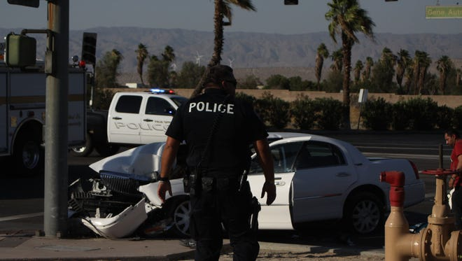 The scene of a crash on Gene Autry Trail in front of the Palm Springs Air Museum Monday evening.