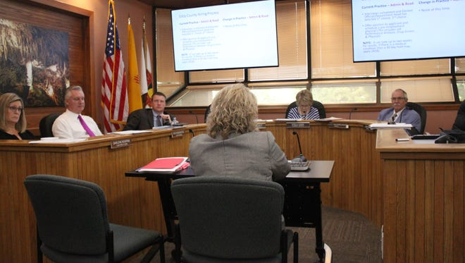 Eddy County commissioners discuss county business during a meeting on Sept. 5 at the Eddy County Administration Building.