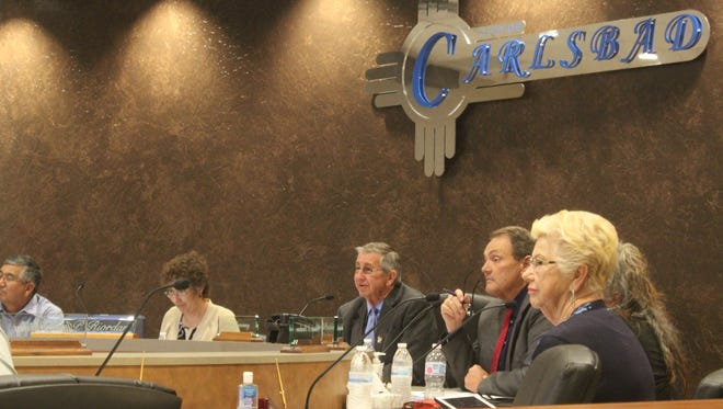 Carlsbad City Councilors discuss city business during a meeting on Sept. 12 in the Municipal Annex Building.
